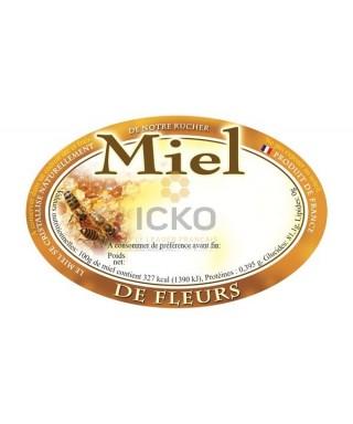 100 etiquettes ovales 92 x 60 de fleurs modèle alvéole/abeille