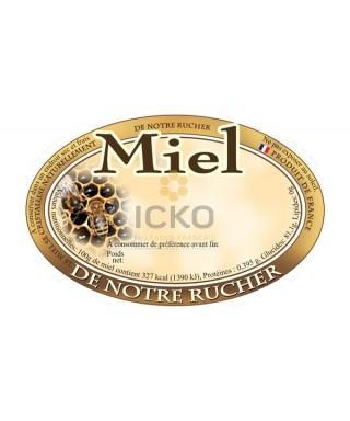 100 etiquettes ovales 92 x 60 de notre rucher modèle alvéole/abeille