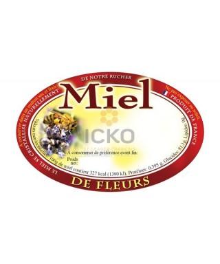 100 etiquettes ovales 92 x 60 fleurs modèle fleur/abeille