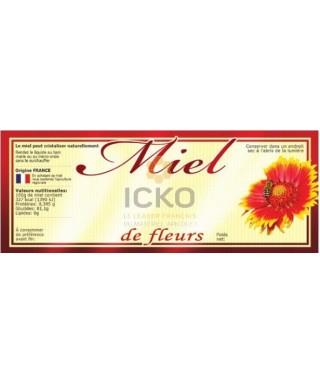 100 etiquettes 154 x 60 de fleurs modèle fleur rouge