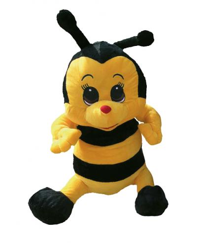 Peluche abeille 35 cm noir jaune