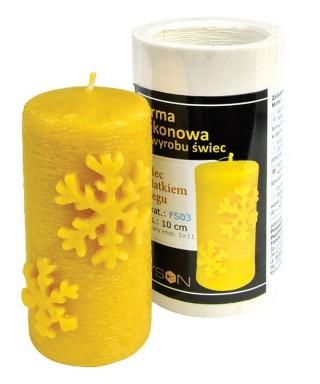 Moule bougie : cylindre avec flocon de neige