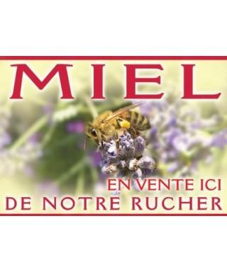 Panneau miel pvc 42 x 29,5 modèle abeille/lavande apisaveurs