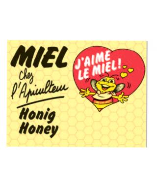"""Panneau miel"""" coeur rouge 50x40"""""""