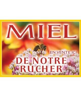 Panneau miel pvc 42 x 29,5 modèle abeille/fleur blanche apisaveurs