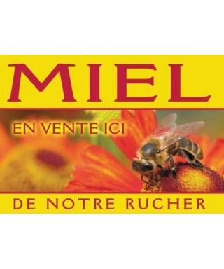 Panneau miel pvc 42 x 29,5 modèle abeille/fleur rouge