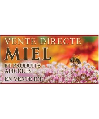 Banniere miel 2 x 1m modèle fleur blanche/rose