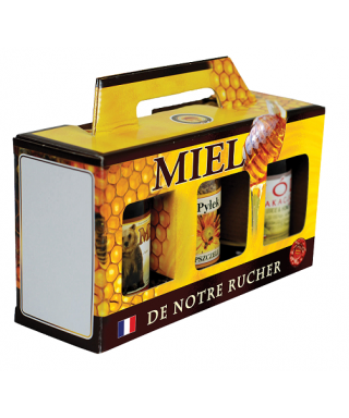 Coffret jaune 3 x500 gr miel rucher