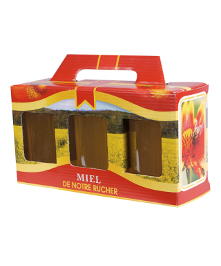 Coffret rouge 3 x500 gr miel rucher