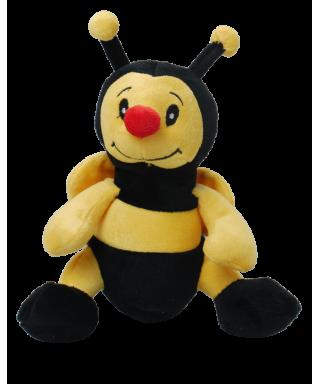 Peluche abeille 18 cm noir jaune