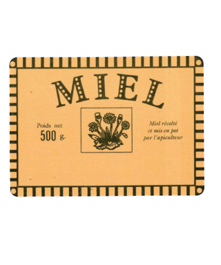 Etiquette rustique miel 500g 70x50 neutre le rl de 1500