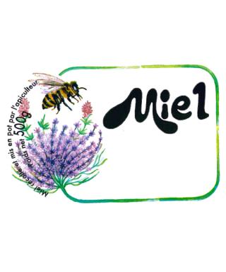Etiquettes fleurs et abeille miel 500g 90x60 x1500 apisaveurs