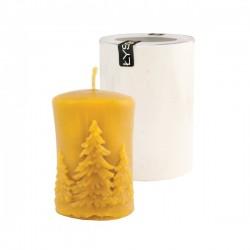 Moule bougie : cylindre décoration sapins